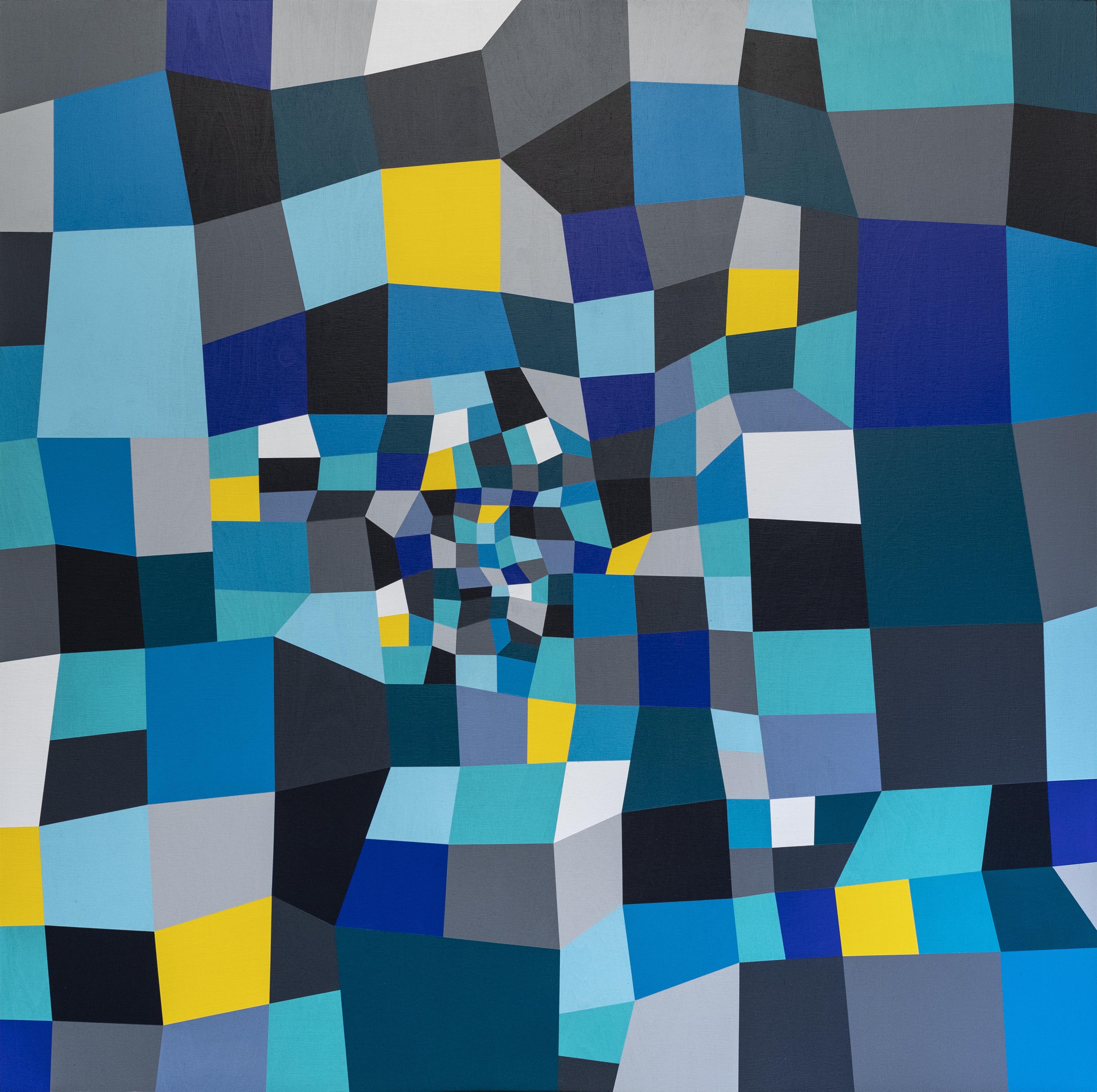 Farbraum - Blau/Grau/Gelb - Acrylmalerei